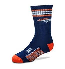 For Bare Feet Mens NFL Denver Broncos Team Socks w/Stripes LG