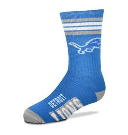 For Bare Feet Mens NFL Detroit Lions Team Socks w/Stripes LG