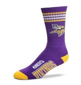For Bare Feet Mens NFL Minnesota Vikings Team Socks  w/Stripes LG
