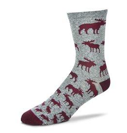 Moose Descending Grid Socks Womens
