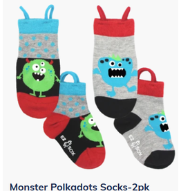 Ezsox Kids EZ Sox 2 Pair Pack Aliens Grey & Blue Socks