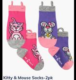Ezsox Kids EZ Sox 2 Pair Pack Kitty & Mouse Socks