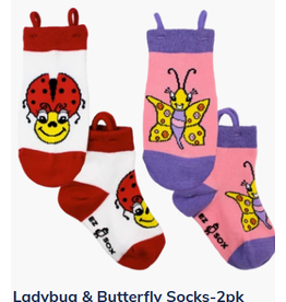 Ezsox Kids EZ Sox 2 Pair Pack Ladybug & Butterfly Socks