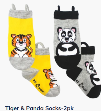 Ezsox Kids EZ Sox 2 Pair Pack Panda & Tiger Socks