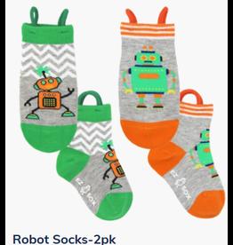 Ezsox Kids EZ Sox 2 Pair Pack Robots Green & Orange Socks