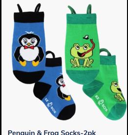Ezsox Kids EZ Sox 2 Pair Pack Penguin-Blue & Frog-Green Socks