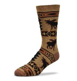 For Bare Feet Moose Blanket Motif Mens Socks