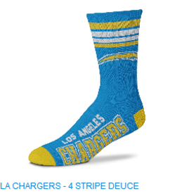 For Bare Feet Mens NFL Los Angeles Chargers Team Socks w/Stripes LG