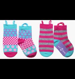 Ezsox Kids EZ Sox 2 Pair Pink Pack Polka Dots & Stripes Socks
