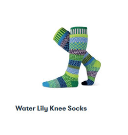 Solmate Solmate Mismatched  Knee-Hi Water Lily Womens Socks Small