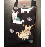 Davco Cats in Christmas Outfits Black Womens Socks
