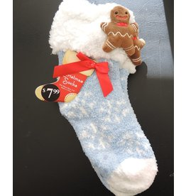 3D Ginger Bread Man Non Skid Slipper Socks Womens