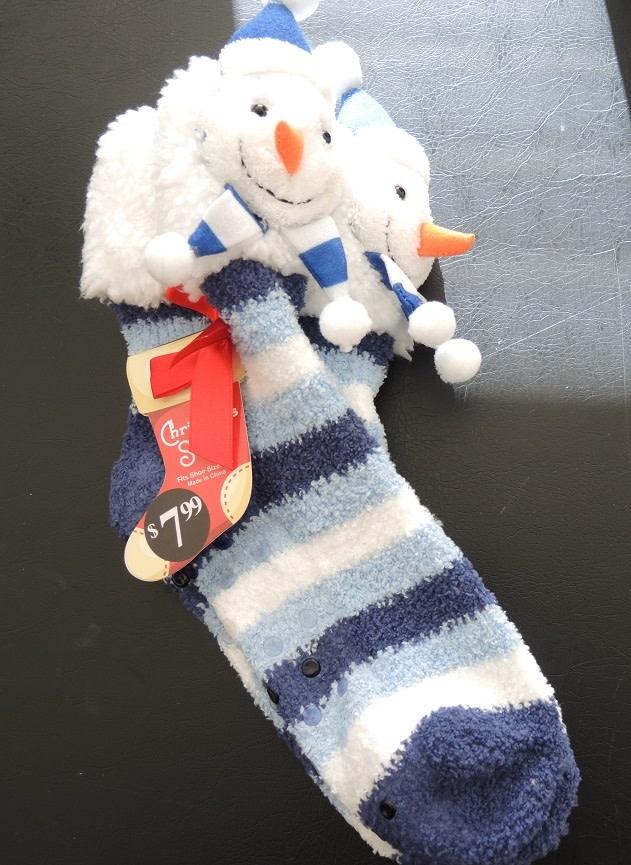 3D Snowman Non Skid Slipper Socks Womens