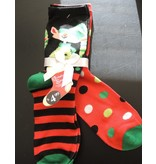 Christmas Elf and Polka Dots Womens 2 Pack Socks