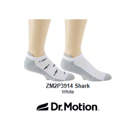 Davco Mens Dr Motion Compression Ankle Socks 2 Pack Sharks