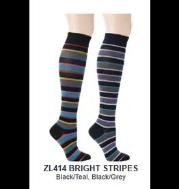 Davco Womens Mild Compression Socks Bright Stripes
