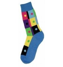 Foot Traffic Mens Bright Geometric Squares Socks