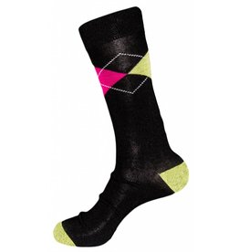 Mens Polo Club Dress Argyle Crew Black Socks