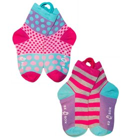 Ezsox Kids EZ Sox 2 Pair Purple Pack Polka Dots & Stripes Socks