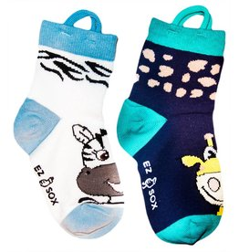 Ezsox Kids EZ Sox 2 Pair Pack Zebra & Giraffe Socks
