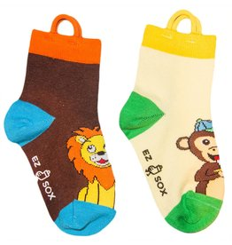 Ezsox Kids EZ Sox 2 Pair Pack Lion & Monkey Socks