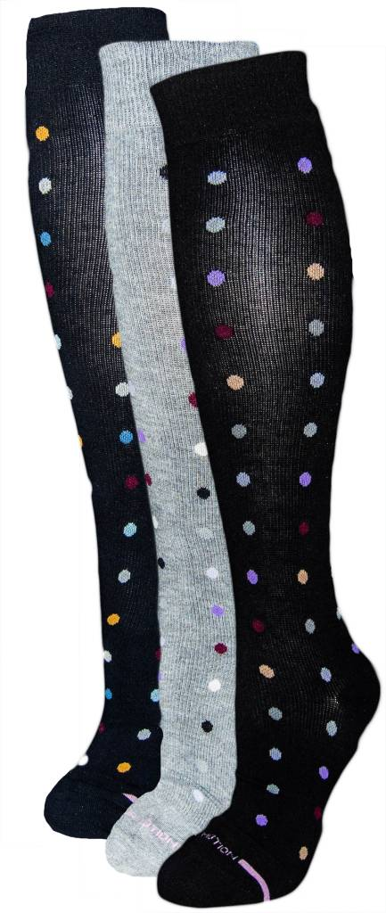 Dr. Motion Women's Compression Socks: Dancing Dots Pattern