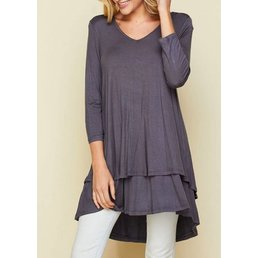 3/4 Sleeve Double Layer Top