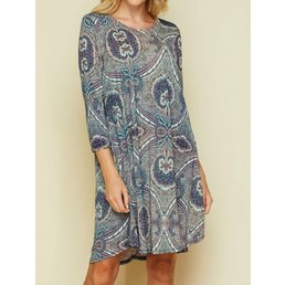 3/4 Sleeve Print Dress