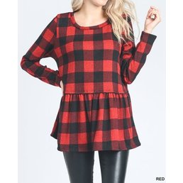 Checkered Peplum Top