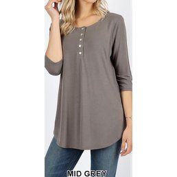 3/4 Sleeve Dolphin Hem Top W/ Shell Button Detail