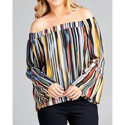 Vertical Stripe Off The Shoulder Top