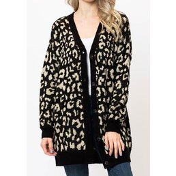 Long Sleeve Animal Print Button Down Cardigan
