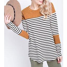 Long Sleeve Miru Stripe Round Hem Top