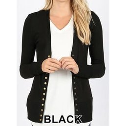 Snap Button Cardigan W/ Ribbed Detail