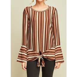 Striped Bell Sleeve Top W/ Front Tie