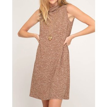 Sleeveless Turtleneck Ribbed Dress