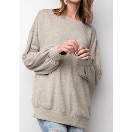 Long Bubble Sleeve Dropped Shoulder Brushed Melange Knit Loose Fit Top W/ Front Pocket