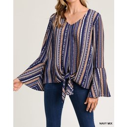 Stripe & Pattern V Neck Top W/ Long Bell Sleeves & Self Tie Hem Knot