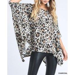 Leopard Print Half Sleeve Flowy Poncho Top
