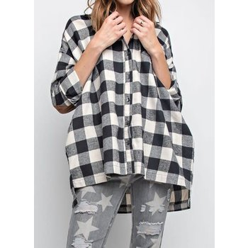 Long Sleeve Oversize Plaid Button Down