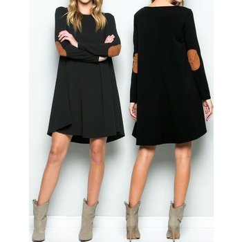 Long Sleeve Dress W/ Suede Elbow Patches