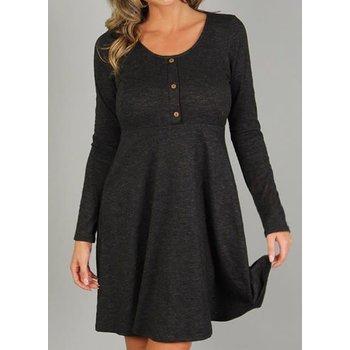 Long Sleeve Dress W/ Button Detail