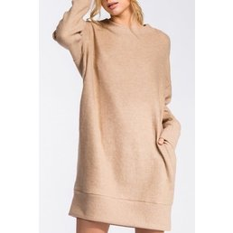 Loose Fit Round Neck Long Drop Sleeve Dress