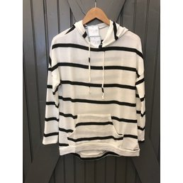 Long Sleeve Stripe  Knit Hoodie W/ Kangaroo Pocket