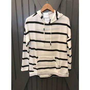 Long Sleeve Stripe  Knit Hoodie W/ Kangaroo Pocket