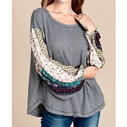 Multi Print Balloon Sleeve Knit Top