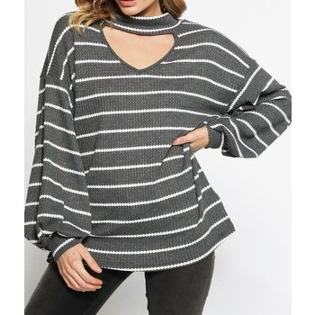 Long Puff Sleeve Striped Thermal Waffle Knit Top