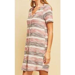 Short Sleeve Textured Stripe Dress