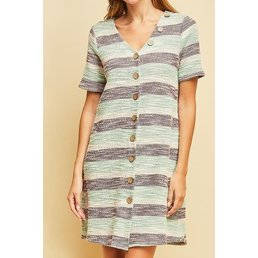 Short Sleeve Textured Stripe Dress