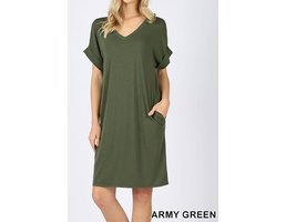 Rolled Short Sleeve V Neck Dress